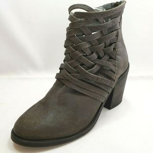 Free People Gray Leather Criss Cross Booties